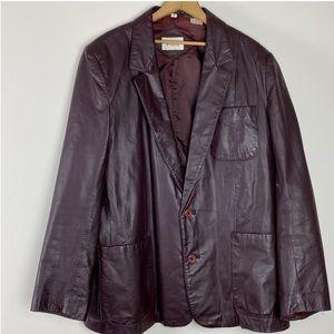 70s VINTAGE Men's  Burgundy Leather Blazer